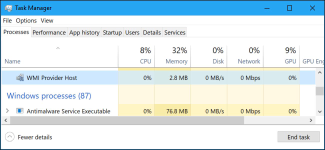 Zer da WMI hornitzailearen ostalaria (WmiPrvSE.exe) eta zergatik erabiltzen da hainbeste CPU?