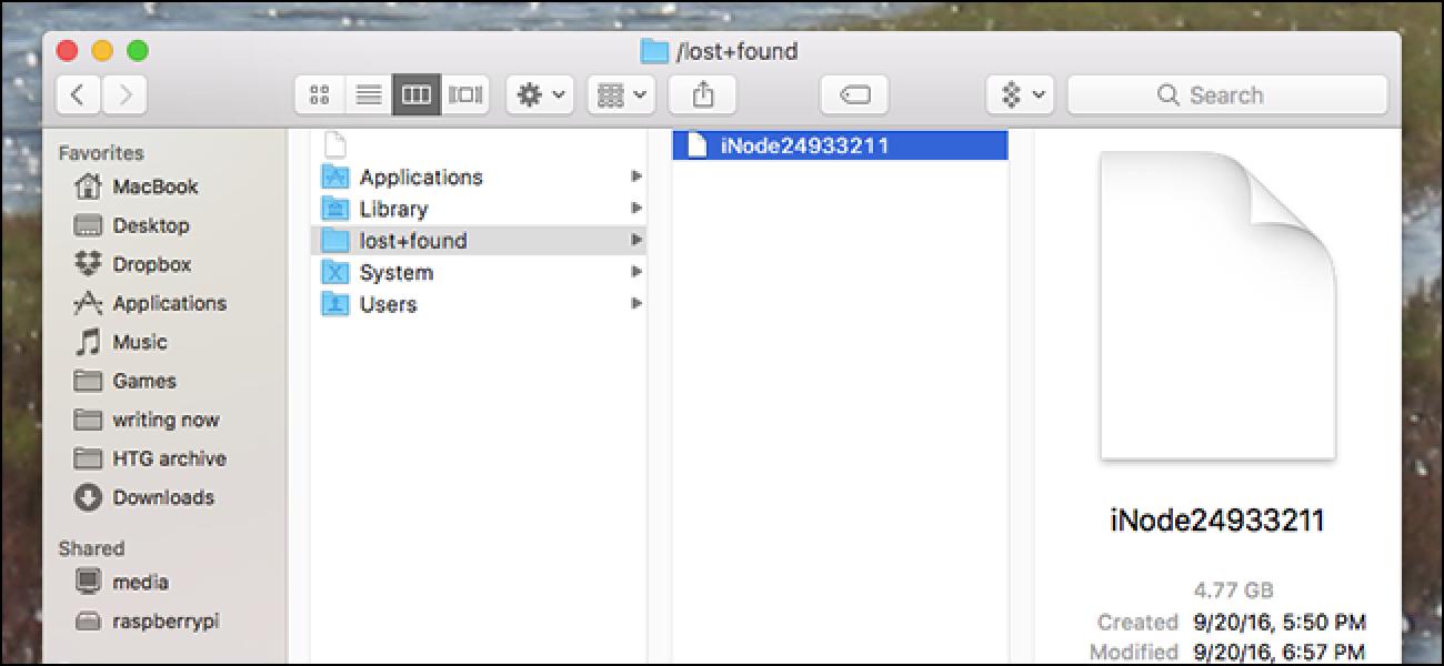 Zein da iNode fitxategi handia galdutako + aurkitu karpetan nire Mac-ean?