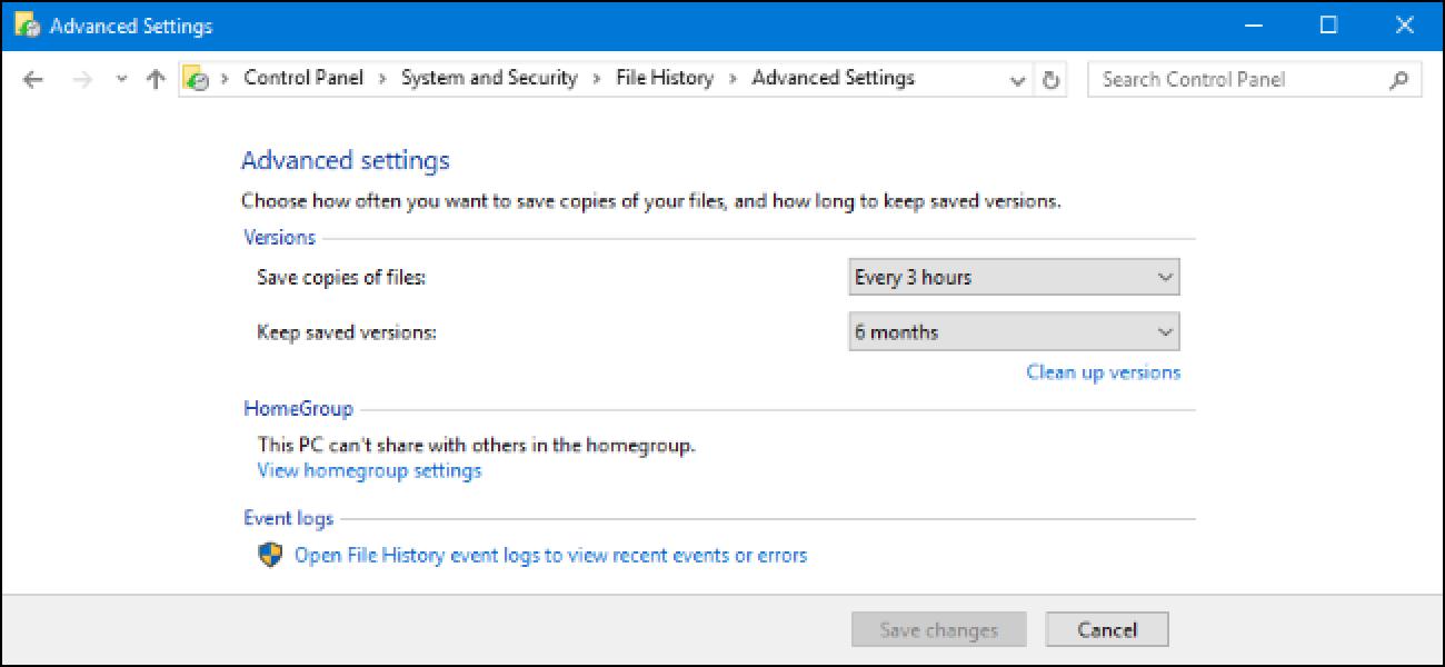 Noiz arte iraungo du fitxategiaren kopia fitxategien historian, hau ezabatu ondoren Windows 10?