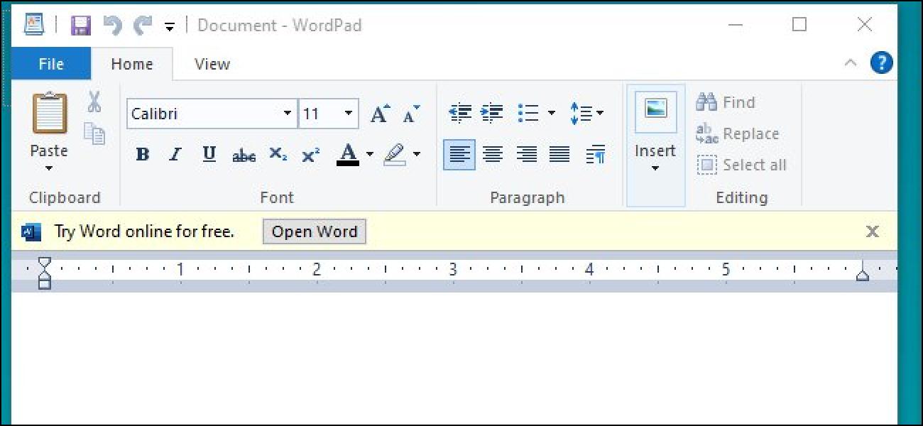Microsoft-ek iragarkiak probatzen ditu WordPad-en Windows 10