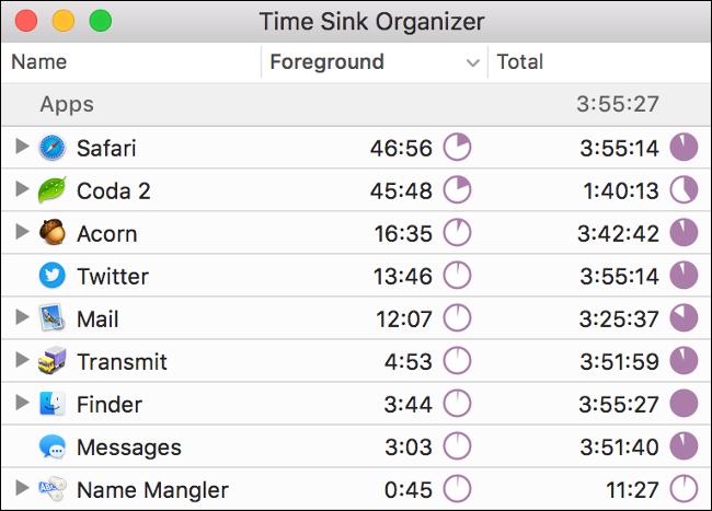 """""""Denbora Sink antolatzailea"""" Time Sink aplikazioan dago."""