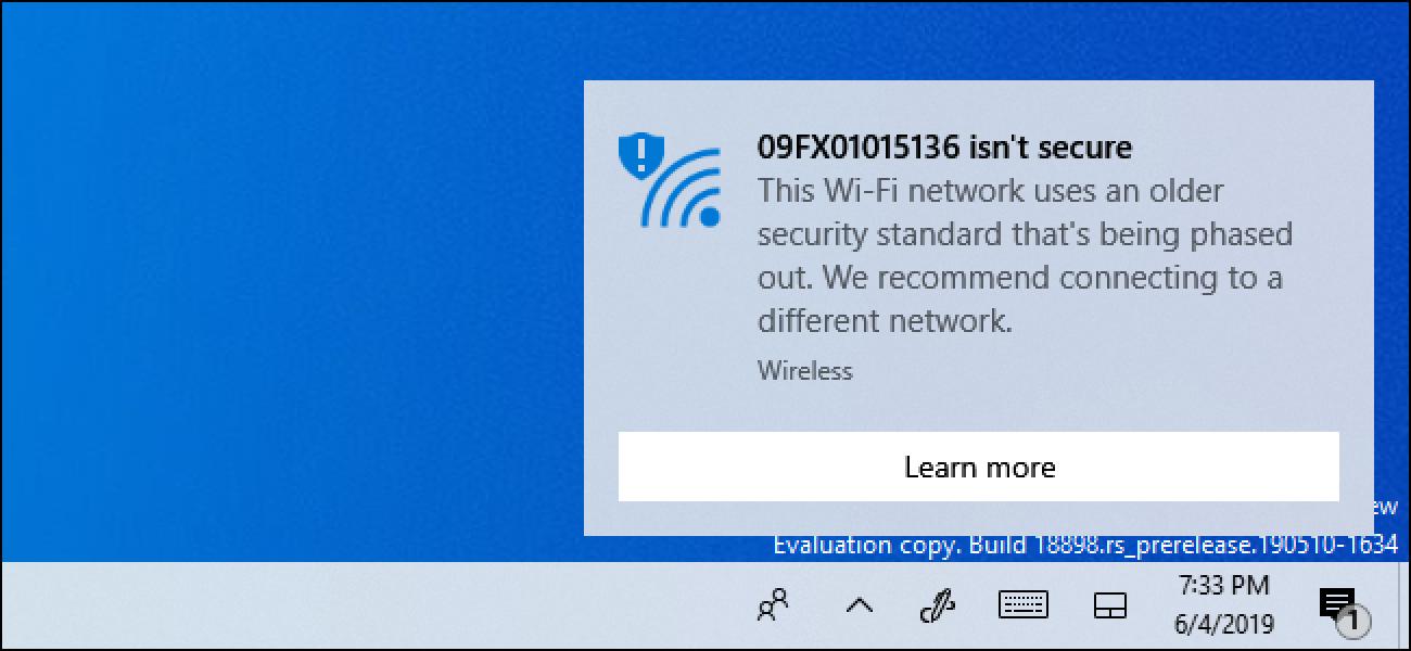 """Zergatik Windows 10 dio zure Wi-Fi Sareak """"Ez dago segurua"""""""