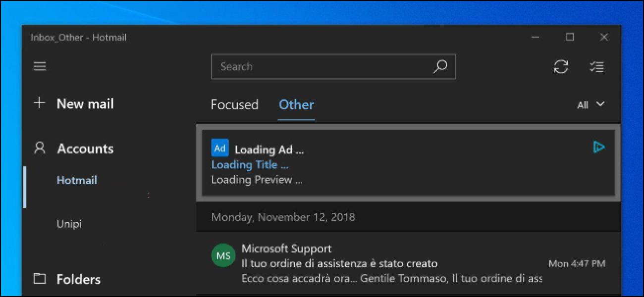 Microsoft Just Crammed Ads sartu Windows 10 Posta. Noiz geldituko dira?
