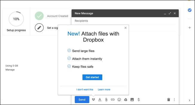 Nola erabili Gmail gehigarri berriak (Dropbox bezala) 3