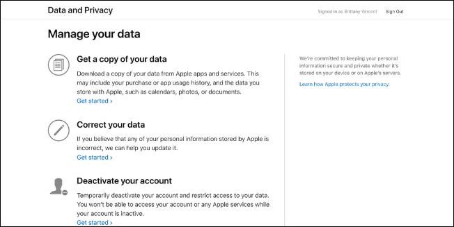 AEBetako erabiltzaileek orain deskarga ditzakete Apple Kontuaren datuak, Hona hemen nola egin 3