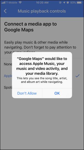 Nola erabili Google Maps musika kontrolak Spotify-era, Apple Musika edo Google Play Music 6
