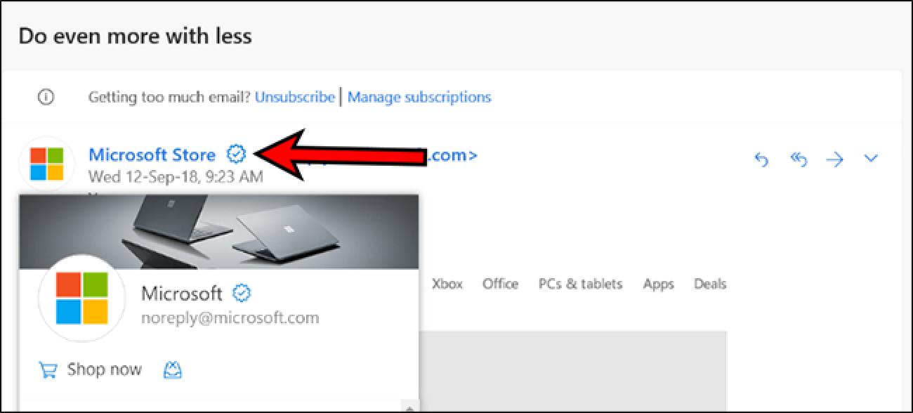 Outlook.com enpresentzako egiaztatutako ikonoa gehitzen ari da. Horrek lagunduko al du phishing-aren aurka?