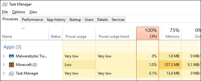 Nola ikusi potentziaren erabilera Windows 10eko ataza-kudeatzailea 4