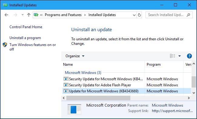 Nola eman denbora gehiago desinstalatzeko Windows 10 Eguneratzeak 7