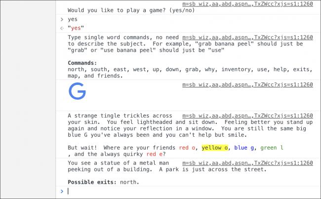 Nola jokatu Google-ren Pazko arrautza sekretu berria: testu abentura joko bat 4