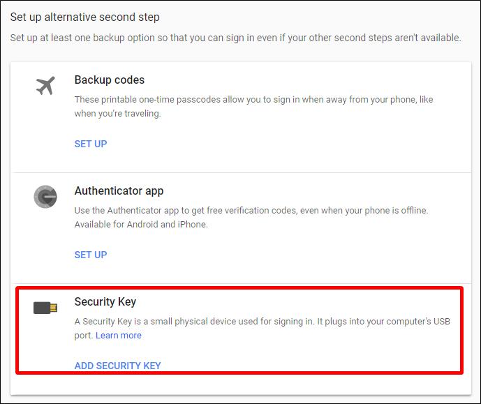 Nola konfiguratu eta erabili Google Titan Key Key sorta 5