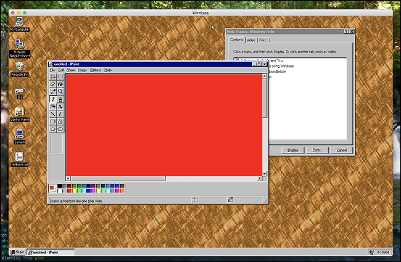 Deskarga Windows 95 gisa Windows, Mac edo Linux aplikazioa, ahal duzulako
