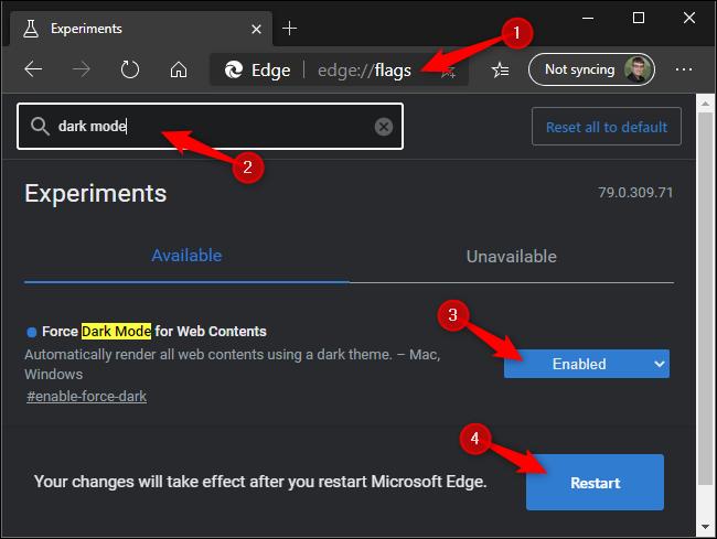 Modu iluna behartzea Microsoft Edge-ren webguneetan.