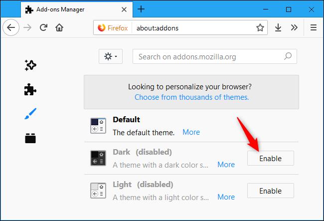 Nola gaitu Dark Mode Firefoxen 4