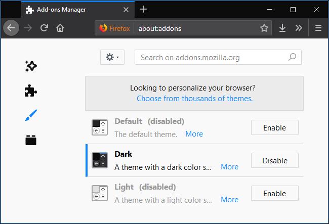 Nola gaitu Dark Mode Firefoxen 5