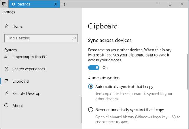 erabiltzea Windows 10garren arbel berria: historia eta hodeiko sinkronizazioa 3