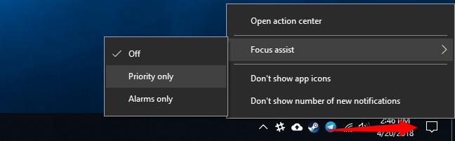 Nola erabili Focus Assist (Ez nahastu modua) aktibatuta Windows 10 2
