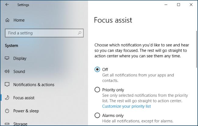 Nola erabili Focus Assist (Ez nahastu modua) aktibatuta Windows 10 4