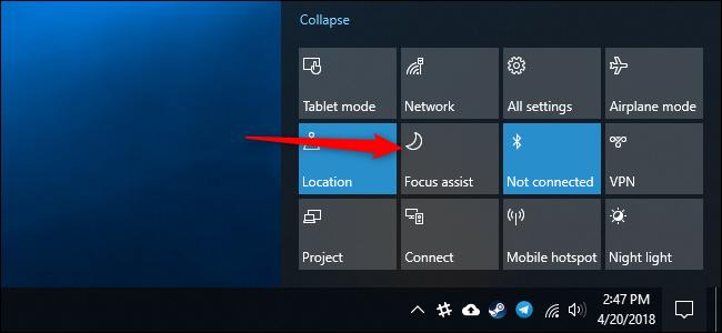 Nola erabili Focus Assist (Ez nahastu modua) aktibatuta Windows 10 3