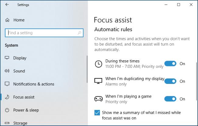 Nola erabili Focus Assist (Ez nahastu modua) aktibatuta Windows 10 10