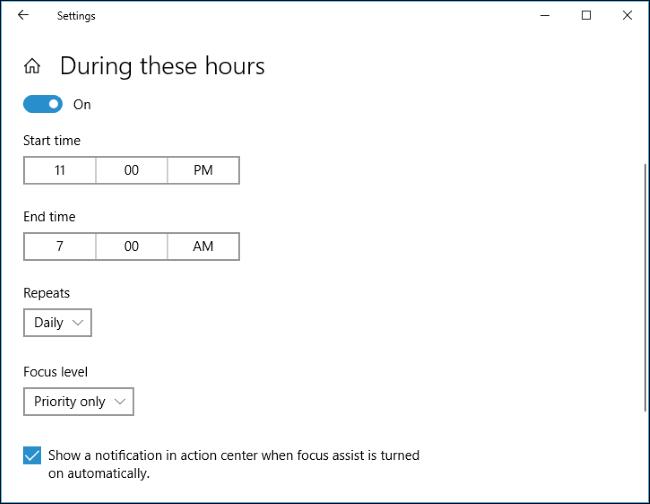 Nola erabili Focus Assist (Ez nahastu modua) aktibatuta Windows 10 9