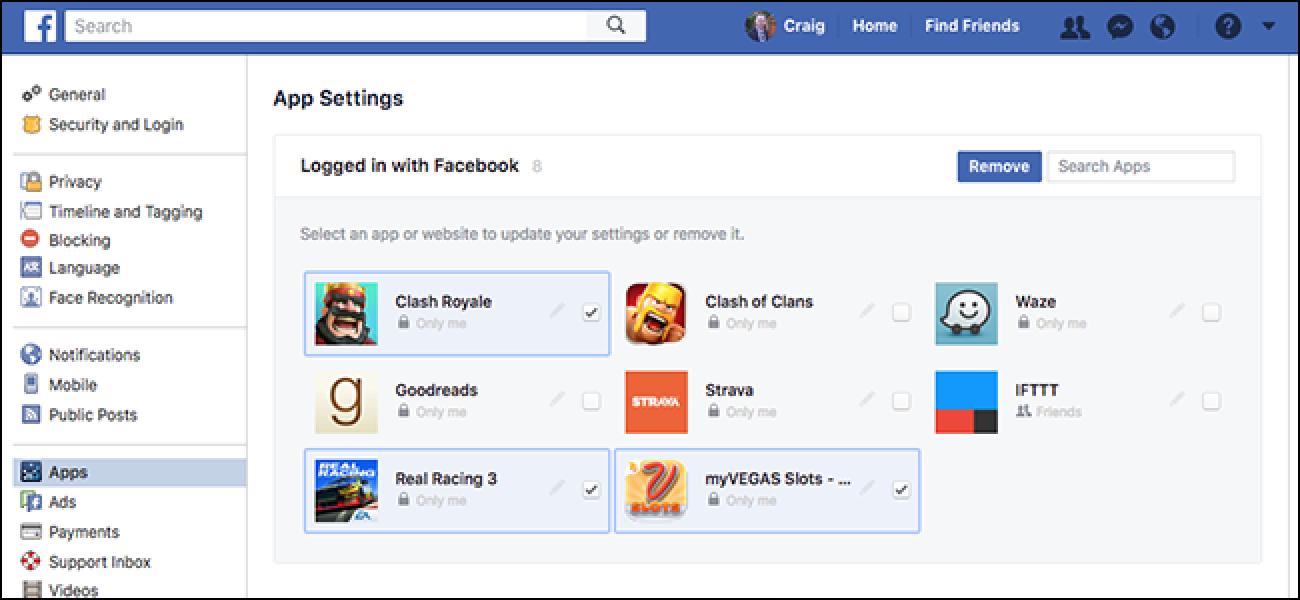 Azkar garbitu zurea Facebook Aplikazio baimenak oraintxe bertan