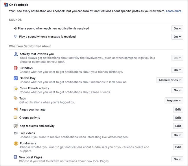 Nola desgaitu eta pertsonalizatu FacebookJakinarazpenak, testuak eta helbide elektronikoak 5