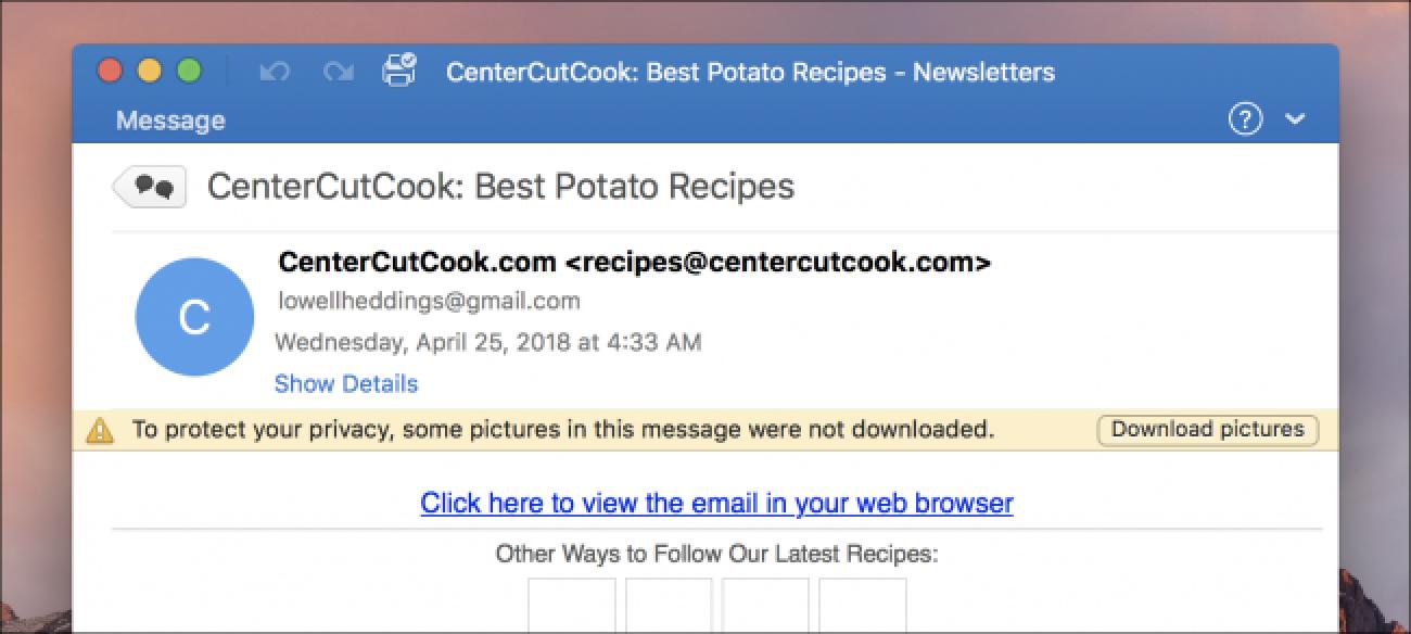 Nola egin Outlook-era Mac erakusteko irudiak lehenetsita