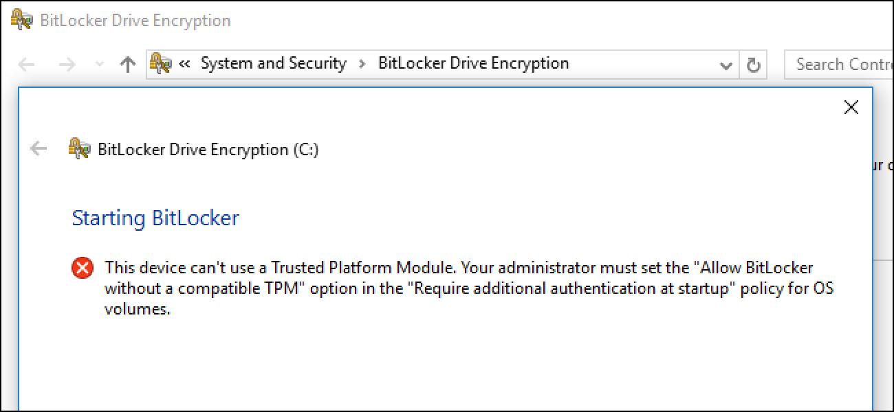 Nola erabili BitLocker konfiantzazko plataforma modulurik gabe (TPM)