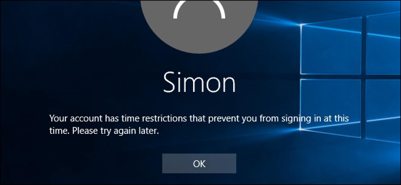 Nola ezarri denbora mugak Kontu arrunt batean Windows 10