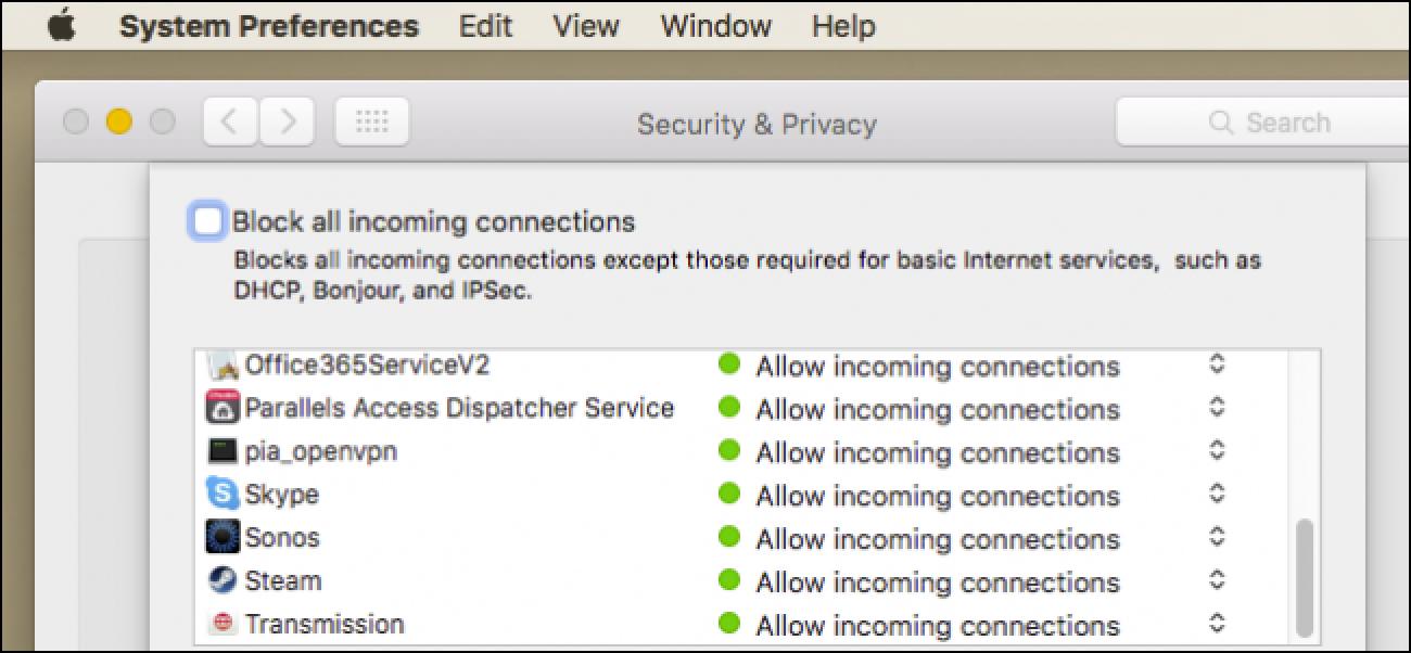 Nola baimendu aplikazioak komunikatzeko zure Mac suebakian