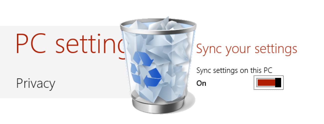 Nola ezabatu Windows 8Hodei Sinkronizazio Datuak