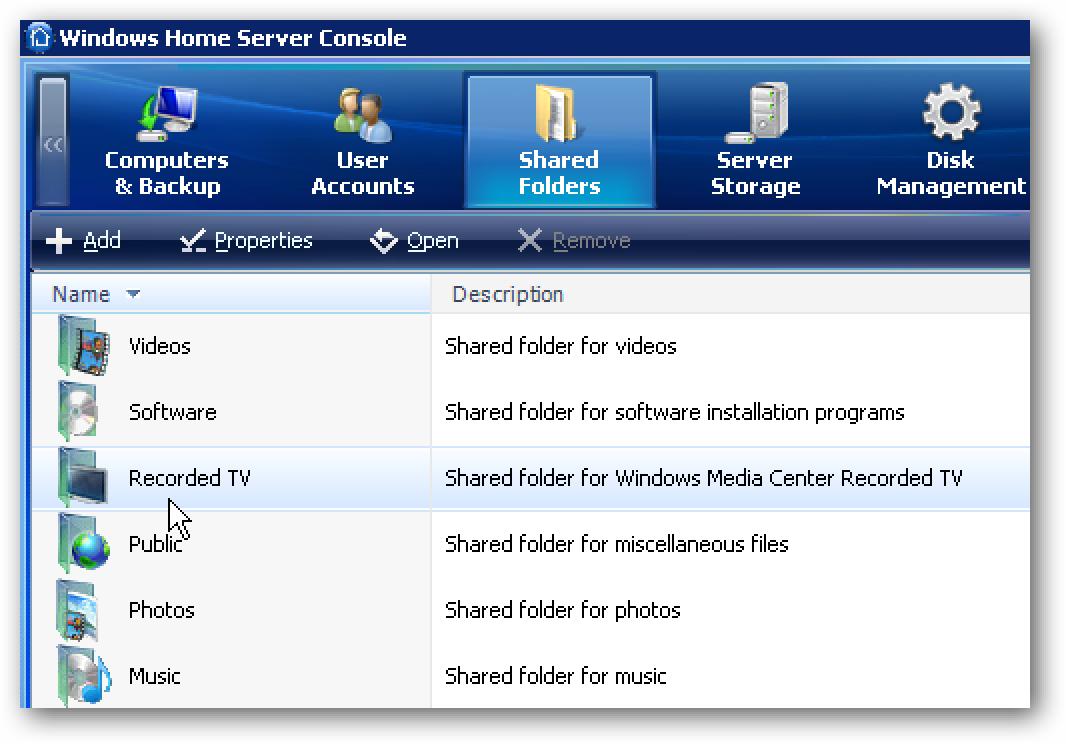 Nola gehitu eta kudeatu partekatutako karpetak Windows Etxeko zerbitzaria