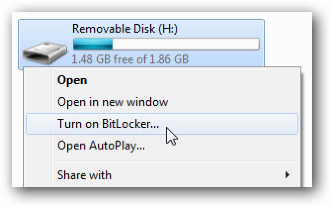 BitLocker: Flash unitate eramangarriak enkriptatzen ditu Windows 7
