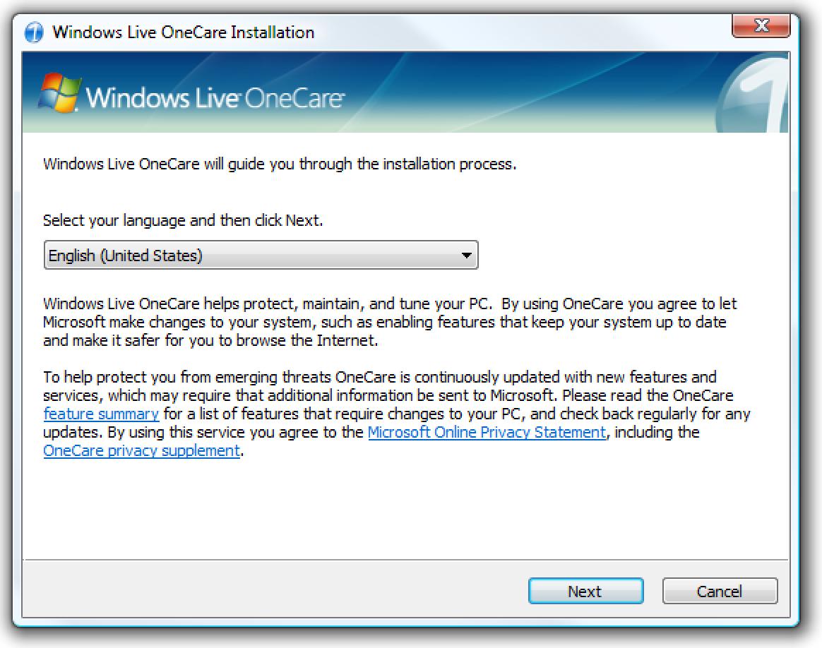 Informatika segurua: Windows Live OneCare