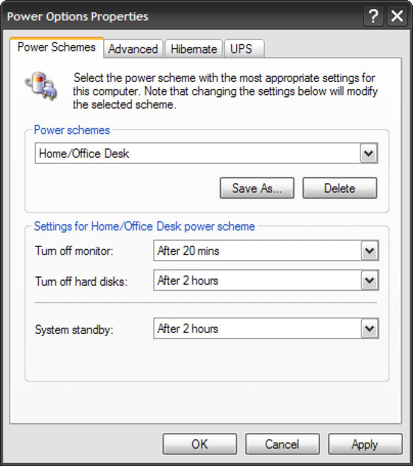 Aurreztu energia Energia aukeren bidez Windows