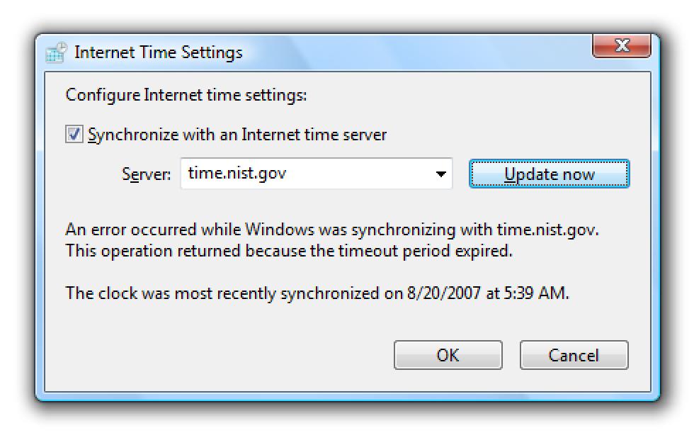 Jorratuz Windows Vista Denbora sinkronizatzeko arazoak