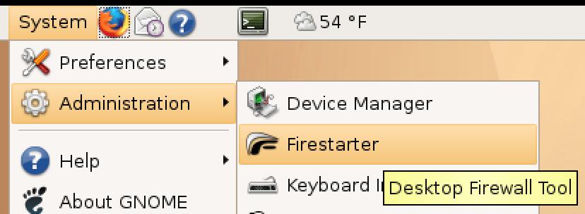 Instalatu Firestarter Firewall Ubuntu Linux-en