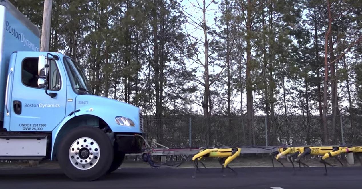 'Guztiok hilko gara' da pentsatuko duzun gauza bakarra kamioi bat robot zakur legio hau ikustean