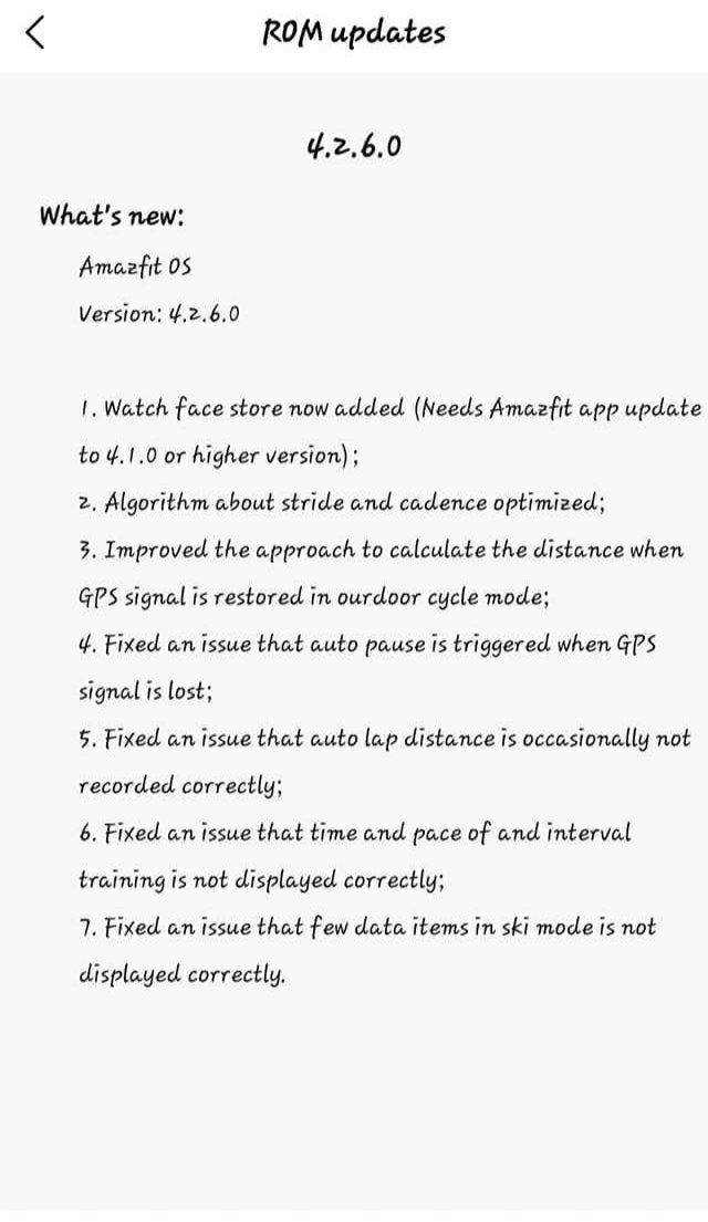 Amazfit Estratos 3 lortzen 4.2.6.0 Bertsioa, Sinkronizatu arazo bat konpondu da