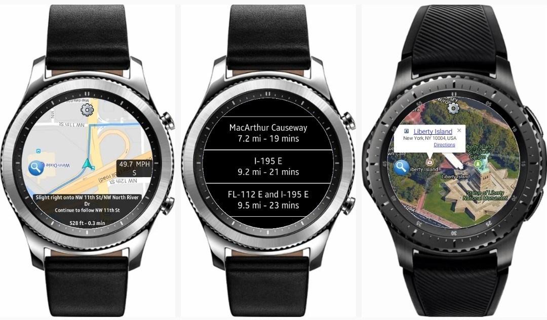 GPS eta nabigaziorako aplikaziorik onenak Galaxy Watch, Gear S3 eta Gear Sport