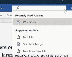 Nola erakutsi edo ezkutatu bilaketa koadroa izenburuko barran Office 365-en