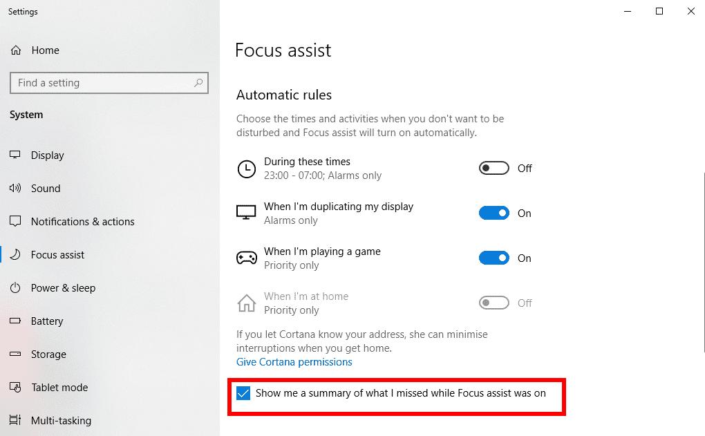 Nola erabili Focus Assist jakinarazpenak desaktibatzeko Windows 10 denbora epe jakin baterako