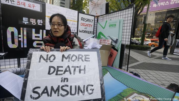 Samsung-ek barkamena eskatu die minbizi langileei