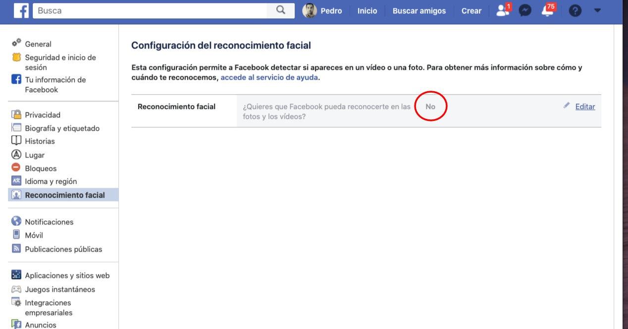 Facebook  aurpegiko errekonozimendua