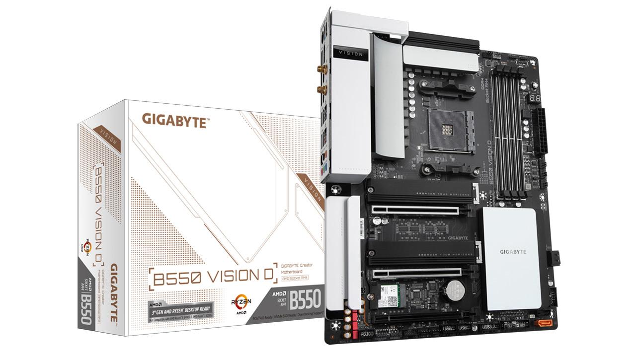 Gigabyte B550 Vision D - itxura polita funtzionalitate duinekin uztartzen duen plaka-taula