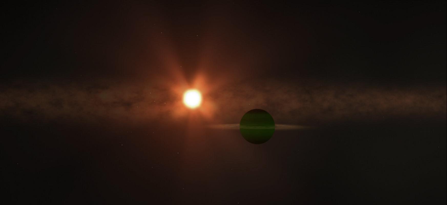 Neptunoren tamainako planeta inguruko izar gazte baten inguruan biraka ari da