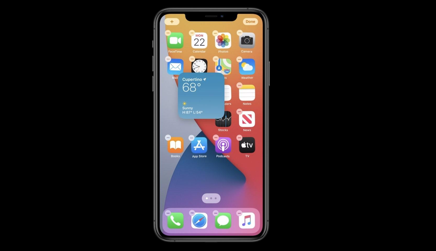 Apple iOS 14. erakutsi 14. Mahaigaineko widgetak iPhones aldatuko dira
