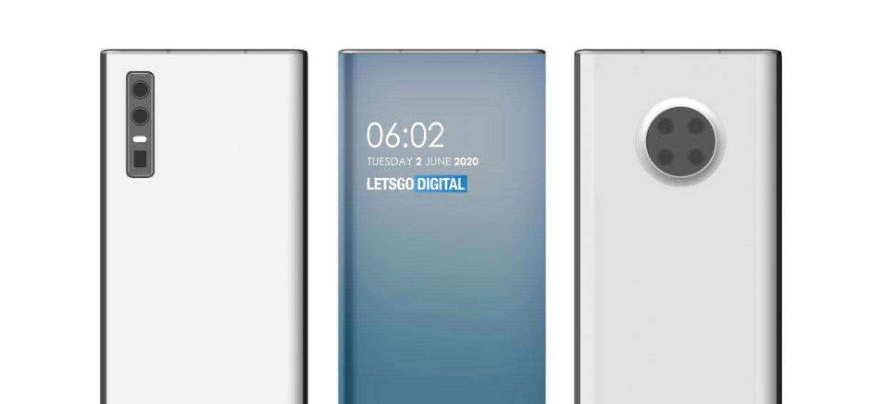 Kamerak biribilatutako pantailen azpian.  Halaxe ikusiko dute Huaweia smartphones berriek
