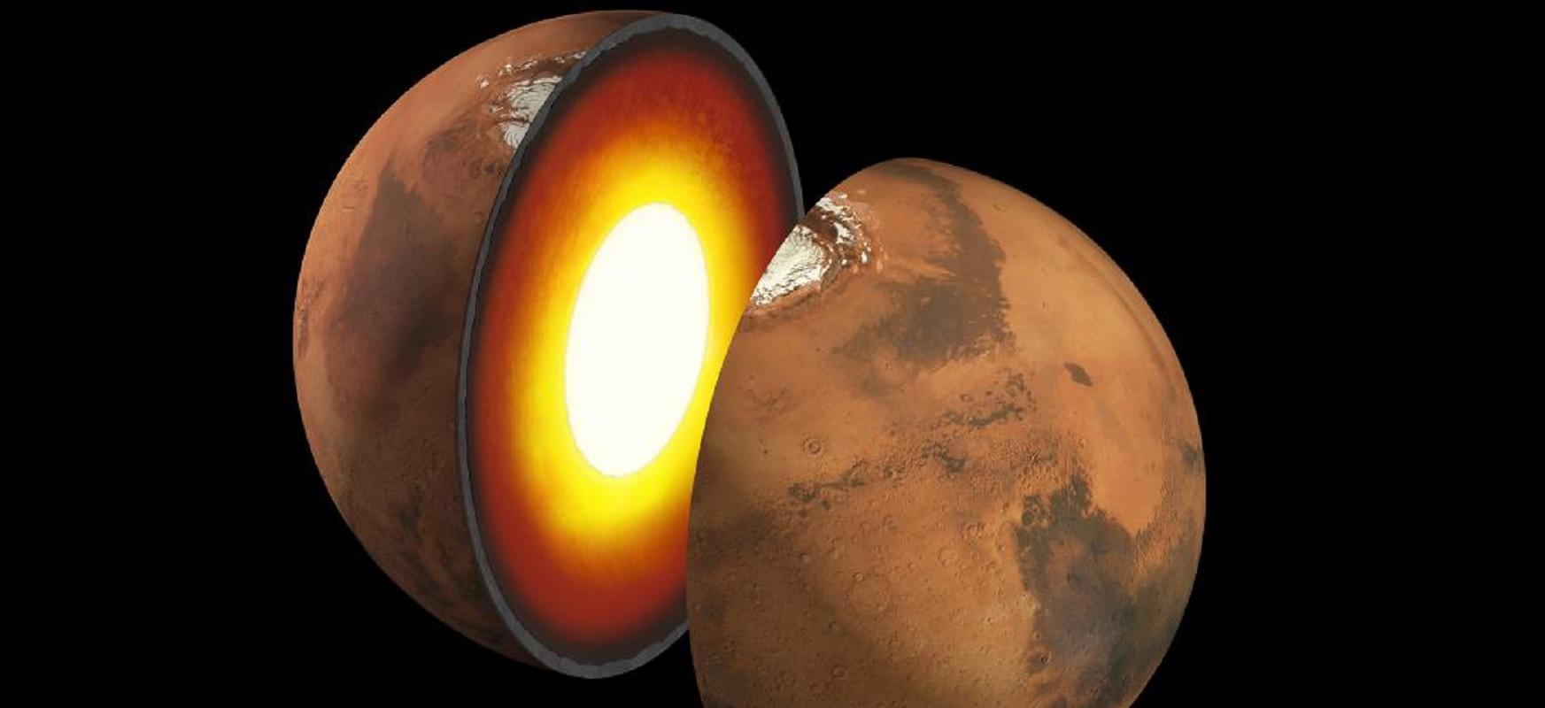 Marten sismometro bat dago.  Simulazio emaitzak Lurrean ditugu.  Laster Planeta Gorriaren barrualdea ikasiko dugu